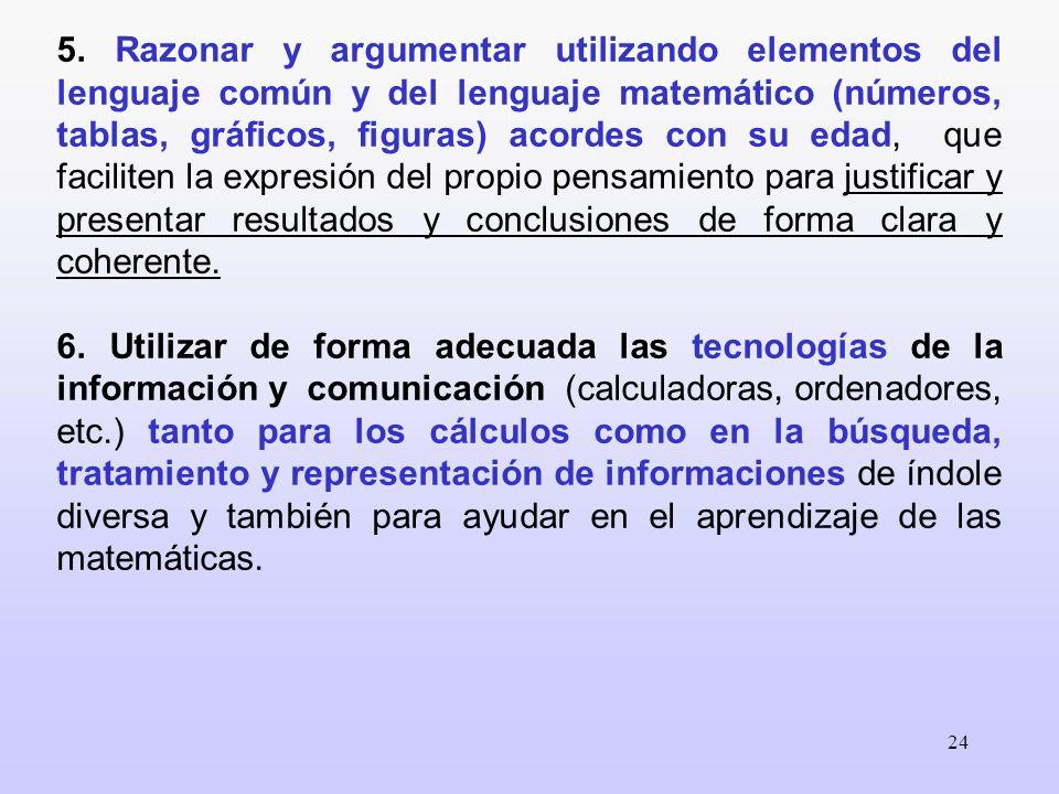 24 5. Razonar y argumentar utilizando elementos del lenguaje común y del lenguaje matemático (números, tablas, gráficos, figuras) acordes con su edad,