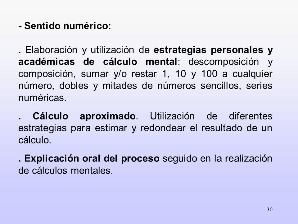 30 - Sentido numérico:. Elaboración y utilización de estrategias personales y académicas de cálculo mental: descomposición y composición, sumar y/o re