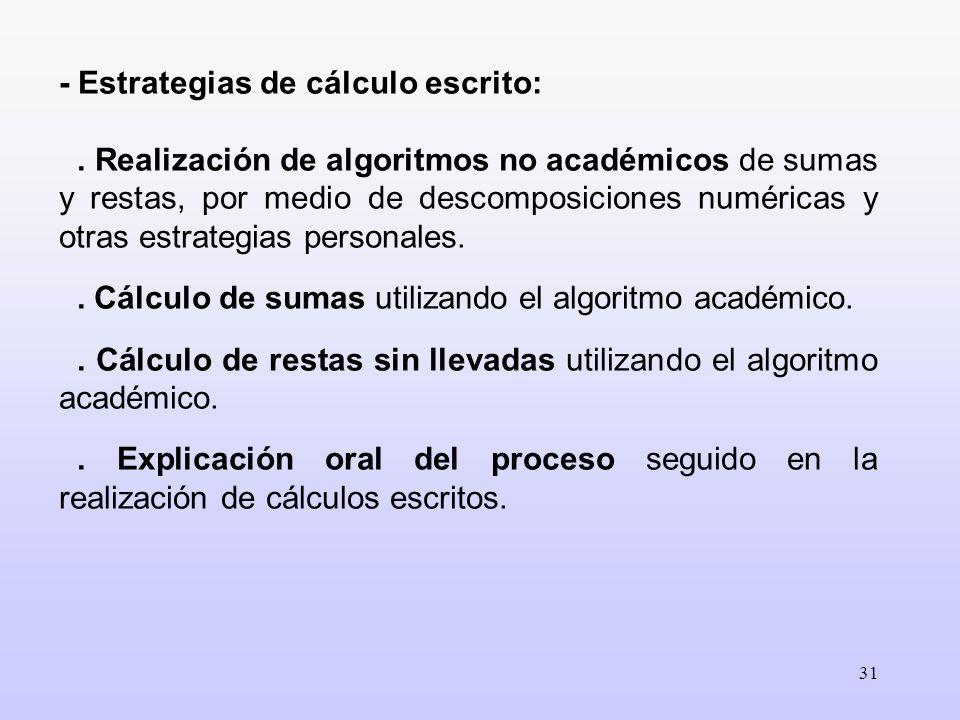 31 - Estrategias de cálculo escrito:. Realización de algoritmos no académicos de sumas y restas, por medio de descomposiciones numéricas y otras estra