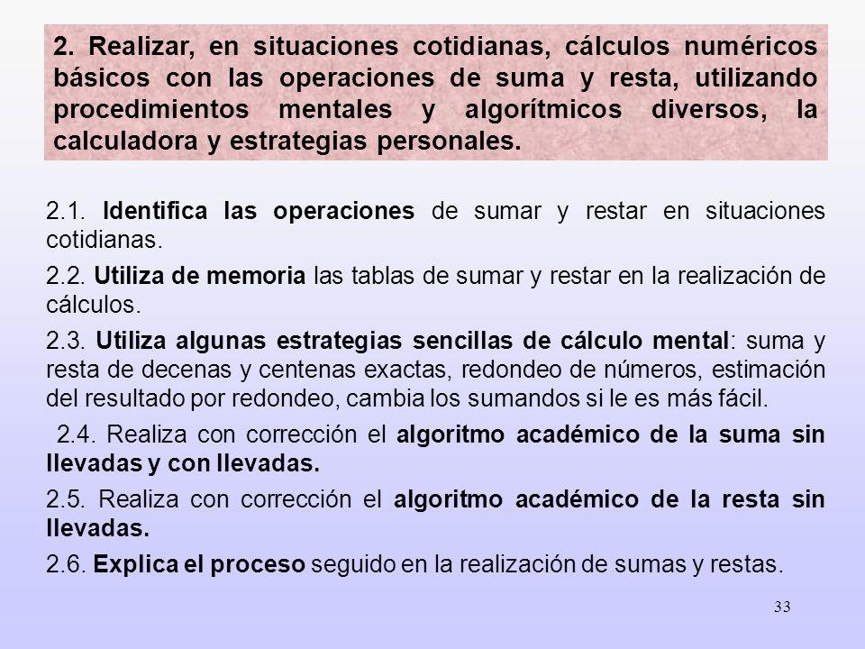 33 2. Realizar, en situaciones cotidianas, cálculos numéricos básicos con las operaciones de suma y resta, utilizando procedimientos mentales y algorí