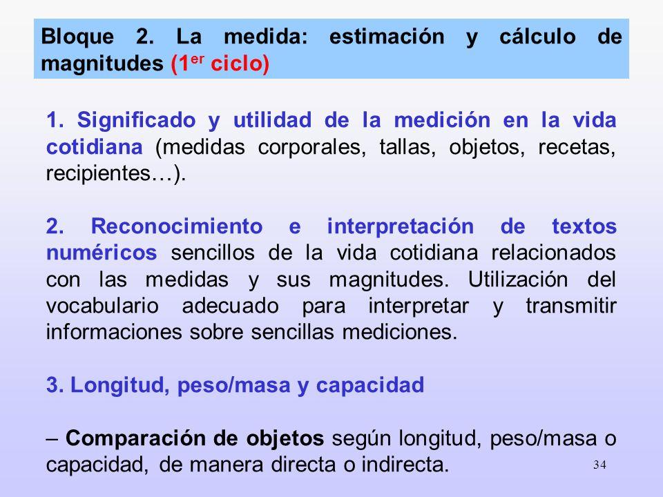 34 1. Significado y utilidad de la medición en la vida cotidiana (medidas corporales, tallas, objetos, recetas, recipientes…). 2. Reconocimiento e int