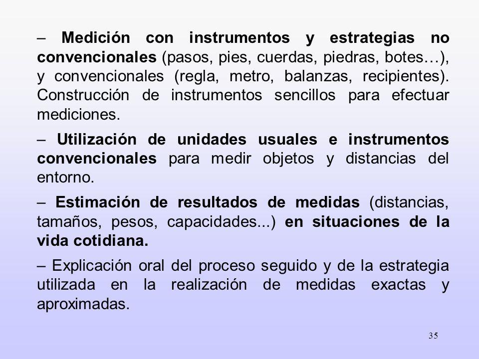 35 – Medición con instrumentos y estrategias no convencionales (pasos, pies, cuerdas, piedras, botes…), y convencionales (regla, metro, balanzas, reci