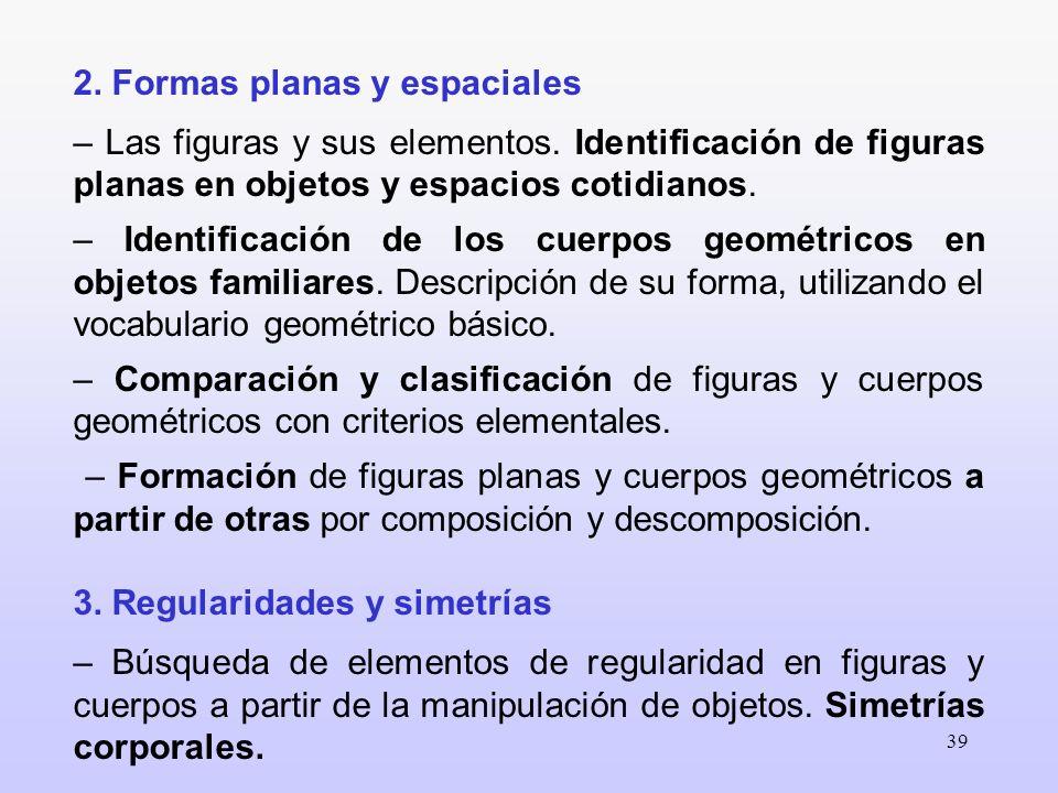 39 2. Formas planas y espaciales – Las figuras y sus elementos. Identificación de figuras planas en objetos y espacios cotidianos. – Identificación de
