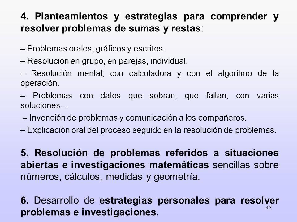 45 4. Planteamientos y estrategias para comprender y resolver problemas de sumas y restas: – Problemas orales, gráficos y escritos. – Resolución en gr