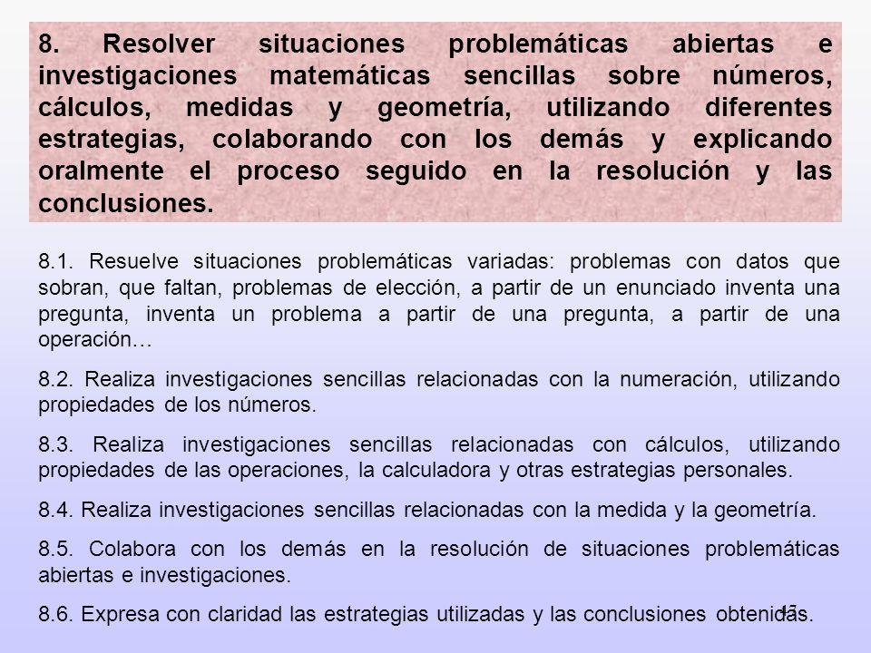 47 8.1. Resuelve situaciones problemáticas variadas: problemas con datos que sobran, que faltan, problemas de elección, a partir de un enunciado inven