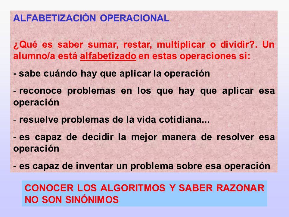 6 ALFABETIZACIÓN OPERACIONAL ¿Qué es saber sumar, restar, multiplicar o dividir?. Un alumno/a está alfabetizado en estas operaciones si: - sabe cuándo