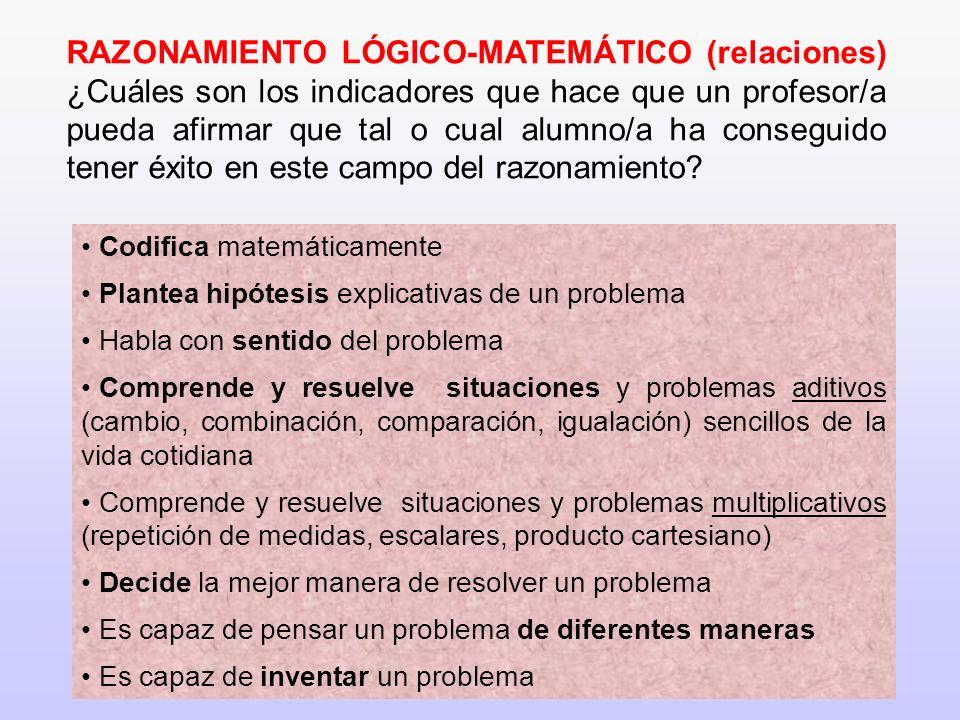 9 RAZONAMIENTO LÓGICO-MATEMÁTICO (relaciones) ¿Cuáles son los indicadores que hace que un profesor/a pueda afirmar que tal o cual alumno/a ha consegui