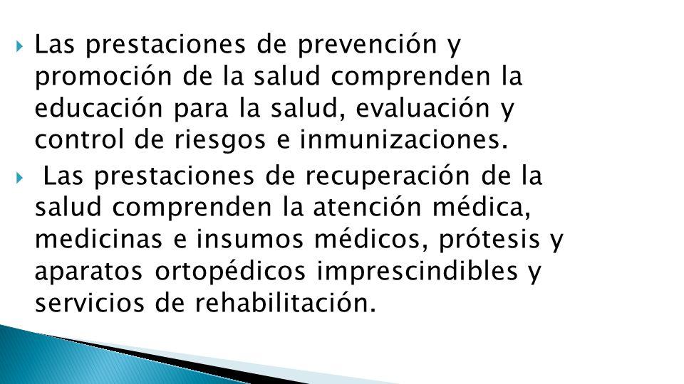 Las prestaciones de prevención y promoción de la salud comprenden la educación para la salud, evaluación y control de riesgos e inmunizaciones. Las pr