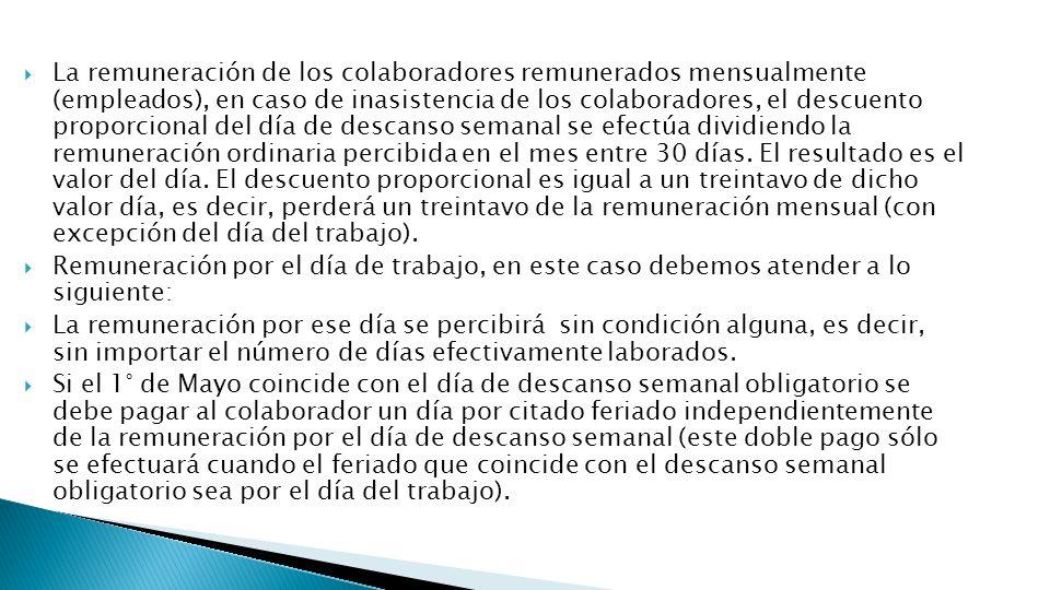 La remuneración de los colaboradores remunerados mensualmente (empleados), en caso de inasistencia de los colaboradores, el descuento proporcional del