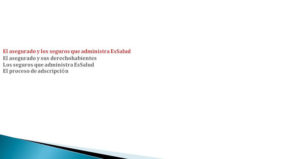 El asegurado y los seguros que administra EsSalud El asegurado y sus derechohabientes Los seguros que administra EsSalud El proceso de adscripci ó n