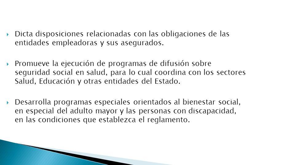Dicta disposiciones relacionadas con las obligaciones de las entidades empleadoras y sus asegurados. Promueve la ejecución de programas de difusión so