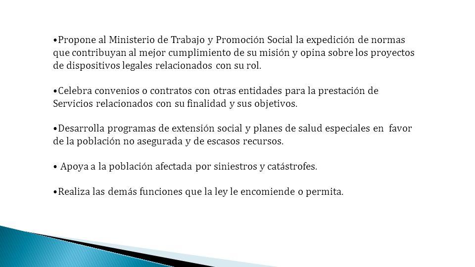 Propone al Ministerio de Trabajo y Promoci ó n Social la expedici ó n de normas que contribuyan al mejor cumplimiento de su misi ó n y opina sobre los