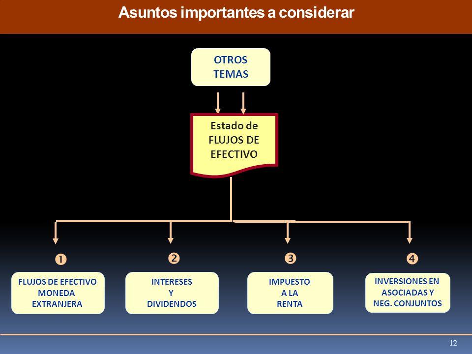 Asuntos importantes a considerar OTROS TEMAS FLUJOS DE EFECTIVO MONEDAEXTRANJERAIMPUESTO A LA RENTAINTERESESYDIVIDENDOS Estado de FLUJOS DE EFECTIVO I