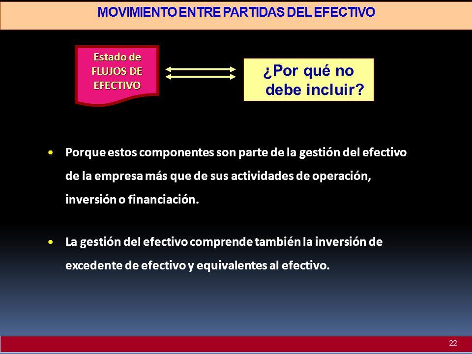 MOVIMIENTO ENTRE PARTIDAS DEL EFECTIVO ¿Por qué no debe incluir? Porque estos componentes son parte de la gestión del efectivo de la empresa más que d