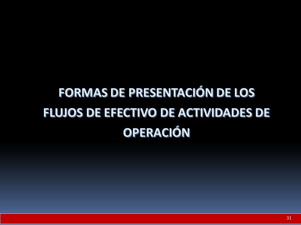 FORMAS DE PRESENTACIÓN DE LOS FLUJOS DE EFECTIVO DE ACTIVIDADES DE OPERACIÓN 31