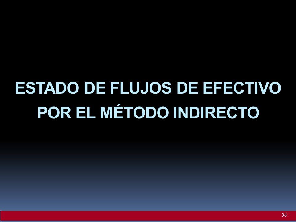 ESTADO DE FLUJOS DE EFECTIVO POR EL MÉTODO INDIRECTO 36