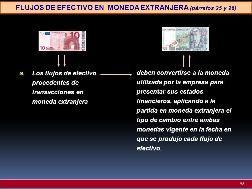 FLUJOS DE EFECTIVO EN MONEDA EXTRANJERA (párrafos 25 y 26) a.Los flujos de efectivo procedentes de transacciones en moneda extranjera deben convertirs