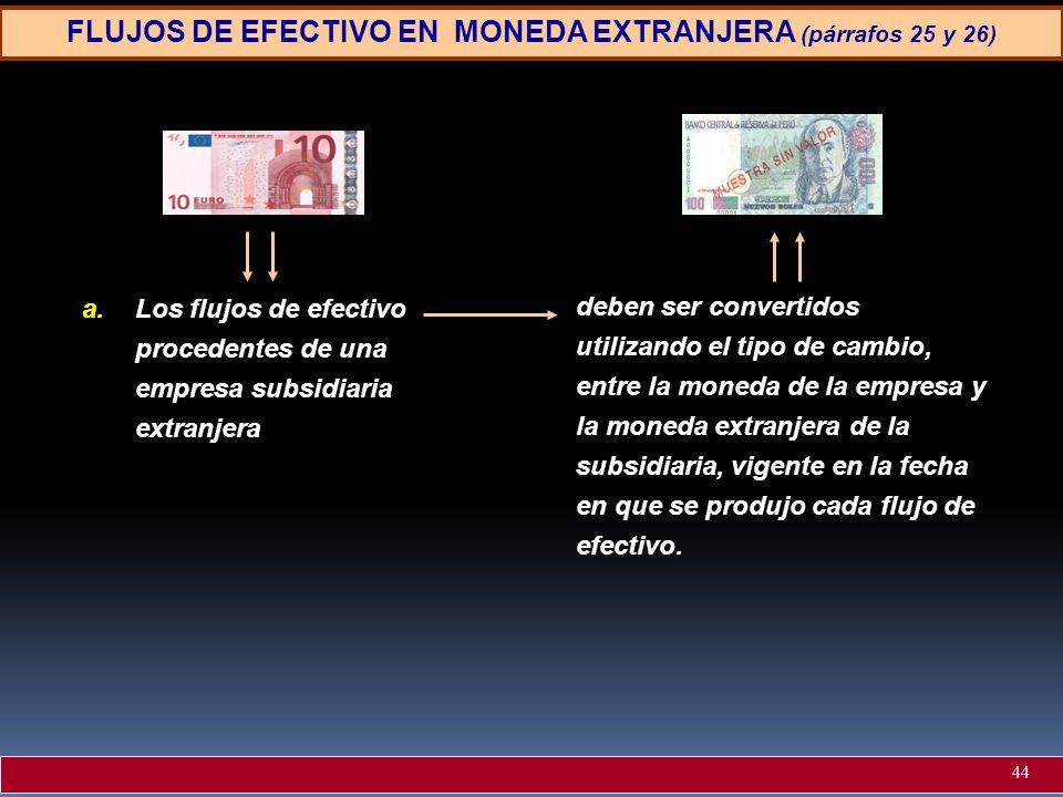 FLUJOS DE EFECTIVO EN MONEDA EXTRANJERA (párrafos 25 y 26) a.Los flujos de efectivo procedentes de una empresa subsidiaria extranjera deben ser conver