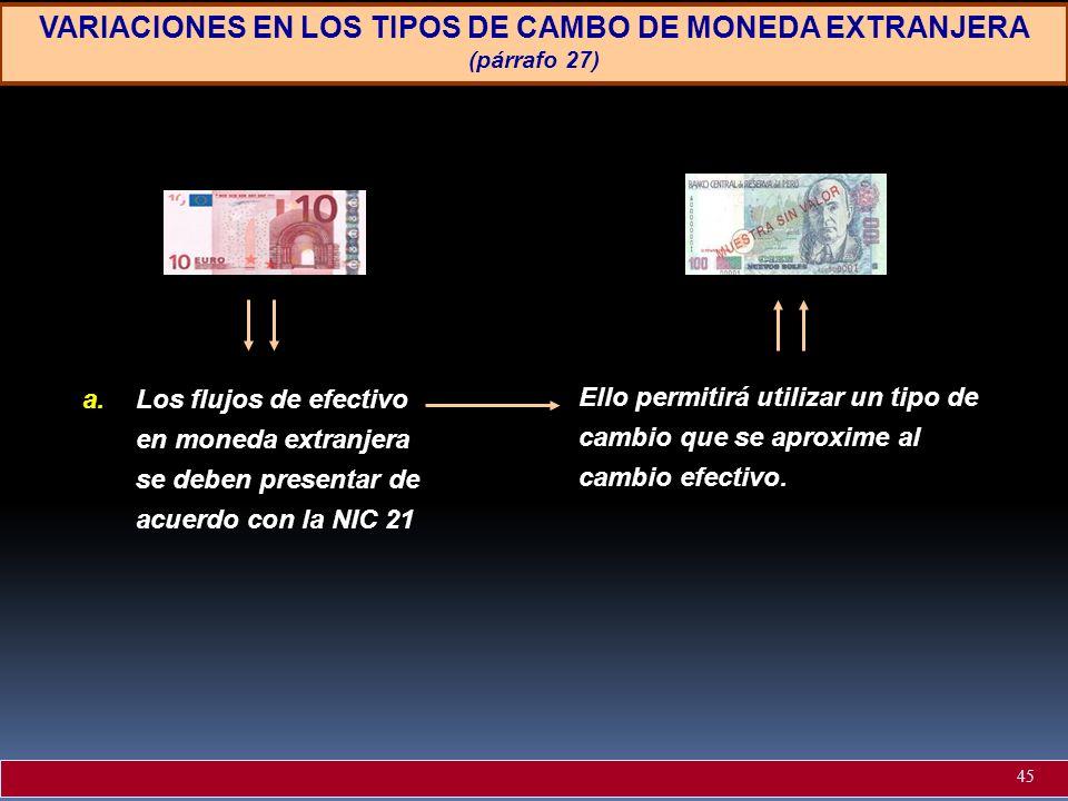 VARIACIONES EN LOS TIPOS DE CAMBO DE MONEDA EXTRANJERA (párrafo 27) a.Los flujos de efectivo en moneda extranjera se deben presentar de acuerdo con la