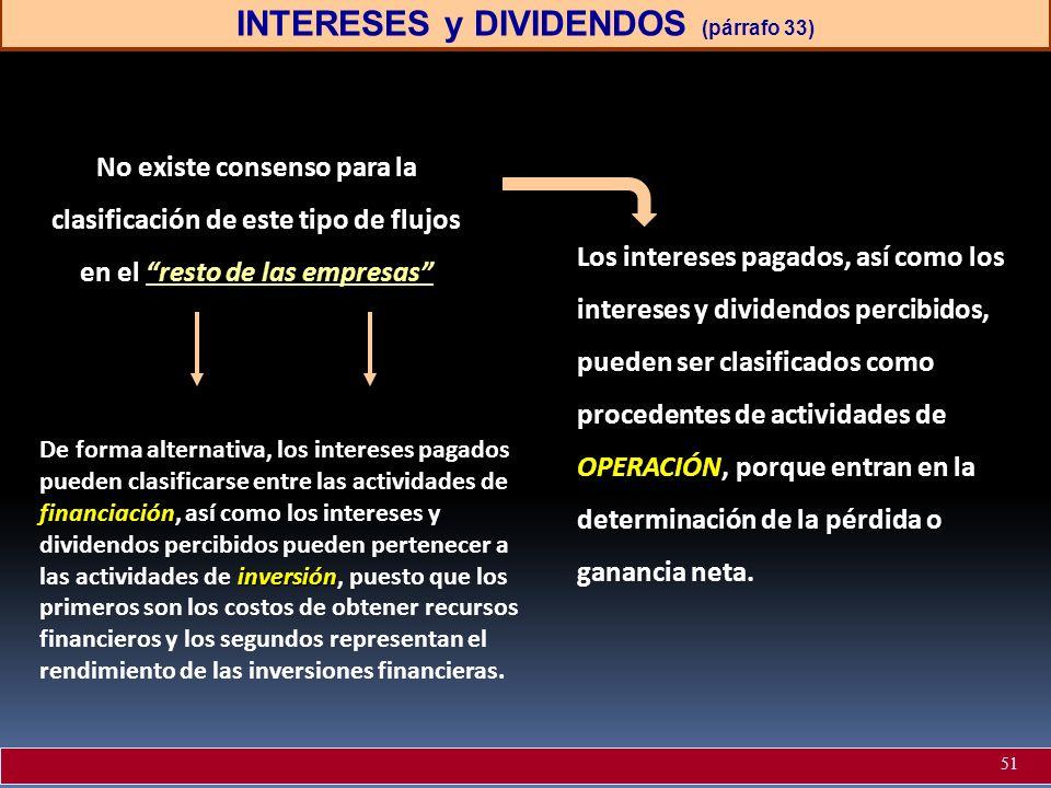 INTERESES y DIVIDENDOS (párrafo 33) No existe consenso para la clasificación de este tipo de flujos en el resto de las empresas OPERACIÓN Los interese