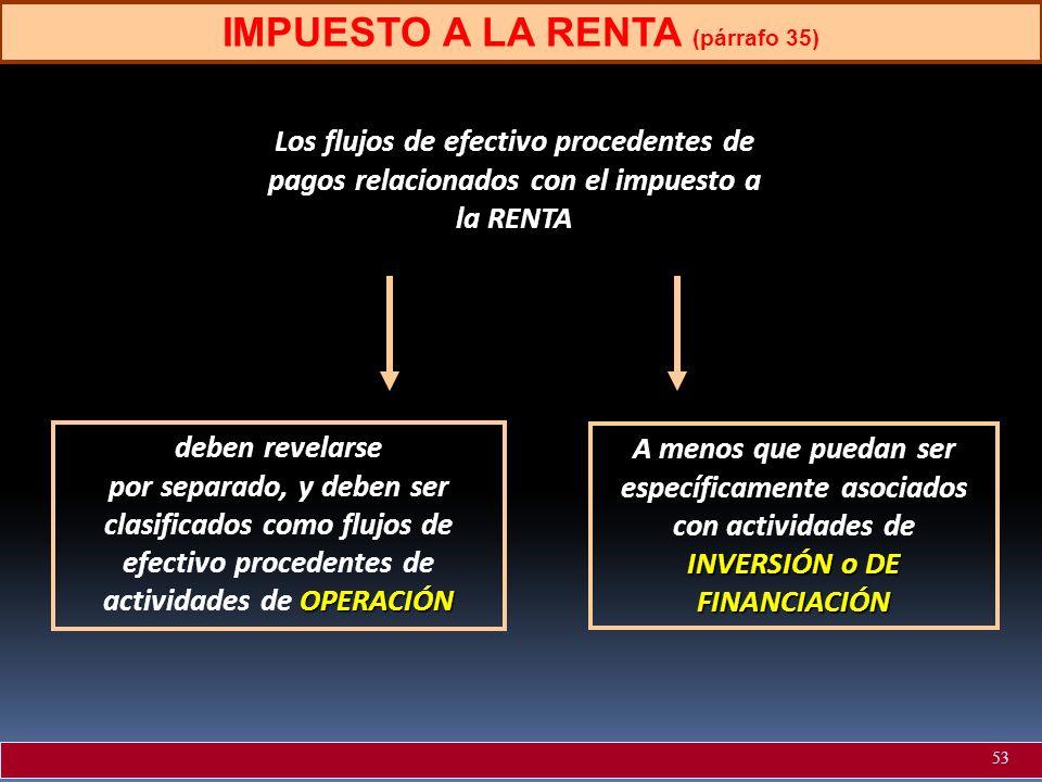 IMPUESTO A LA RENTA (párrafo 35) Los flujos de efectivo procedentes de pagos relacionados con el impuesto a la RENTA deben revelarse OPERACIÓN por sep