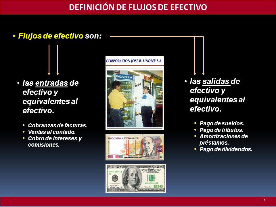 DEFINICIÓN DE FLUJOS DE EFECTIVO Flujos de efectivoFlujos de efectivo son: Cobranzas de facturas. Ventas al contado. Cobro de intereses y comisiones.