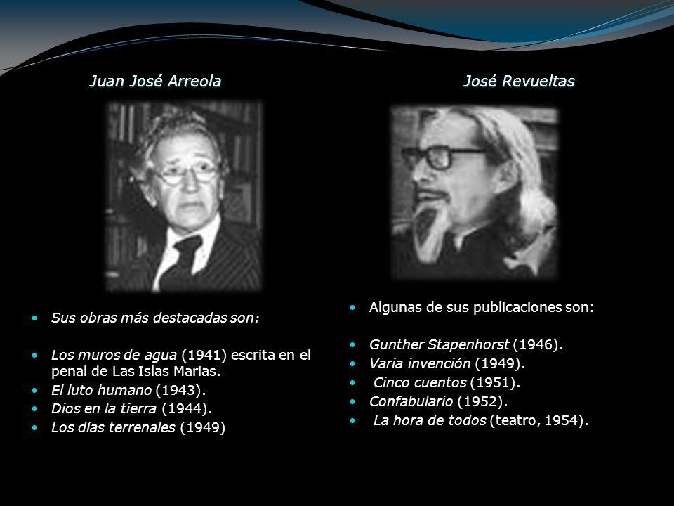 Juan José Arreola José Revueltas Algunas de sus publicaciones son: Gunther Stapenhorst (1946). Varia invención (1949). Cinco cuentos (1951). Confabula