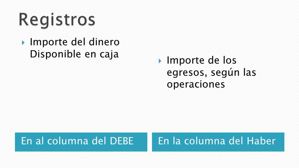 En al columna del DEBEEn la columna del Haber Importe del dinero Disponible en caja Importe de los egresos, según las operaciones