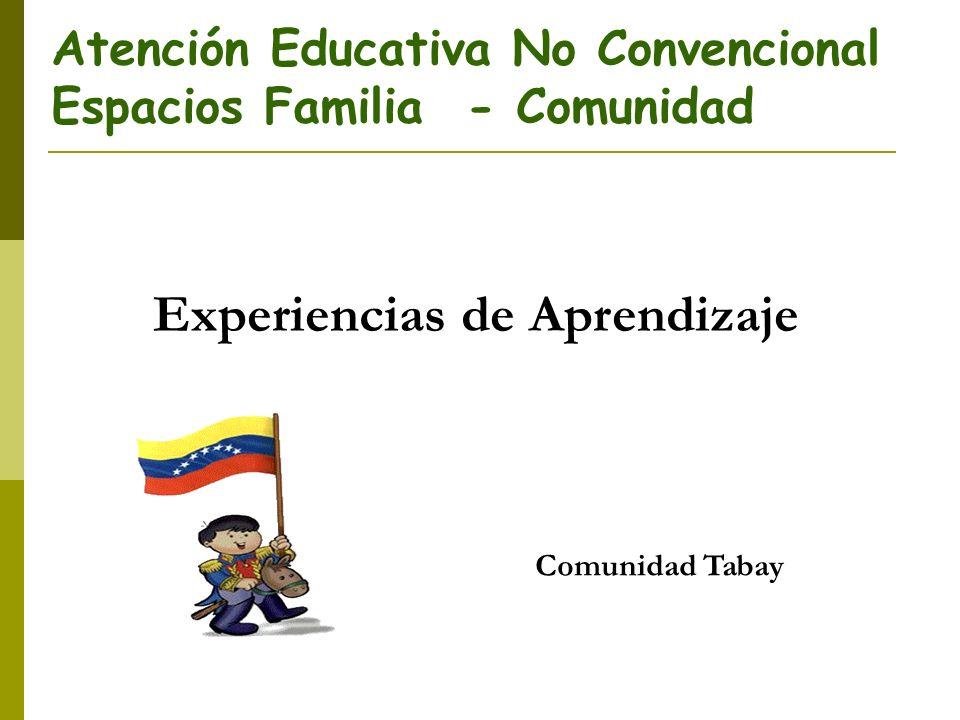 Atención Educativa No Convencional Espacios Familia - Comunidad Experiencias de Aprendizaje Comunidad Tabay