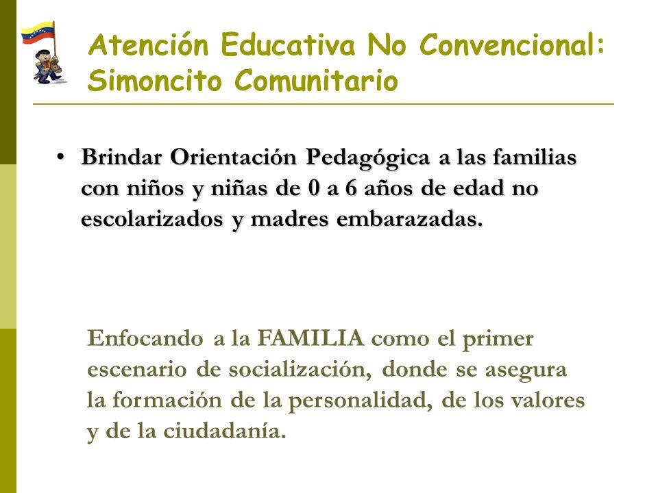 Atención Educativa No Convencional: Simoncito Comunitario Brindar Orientación Pedagógica a las familias con niños y niñas de 0 a 6 años de edad no esc