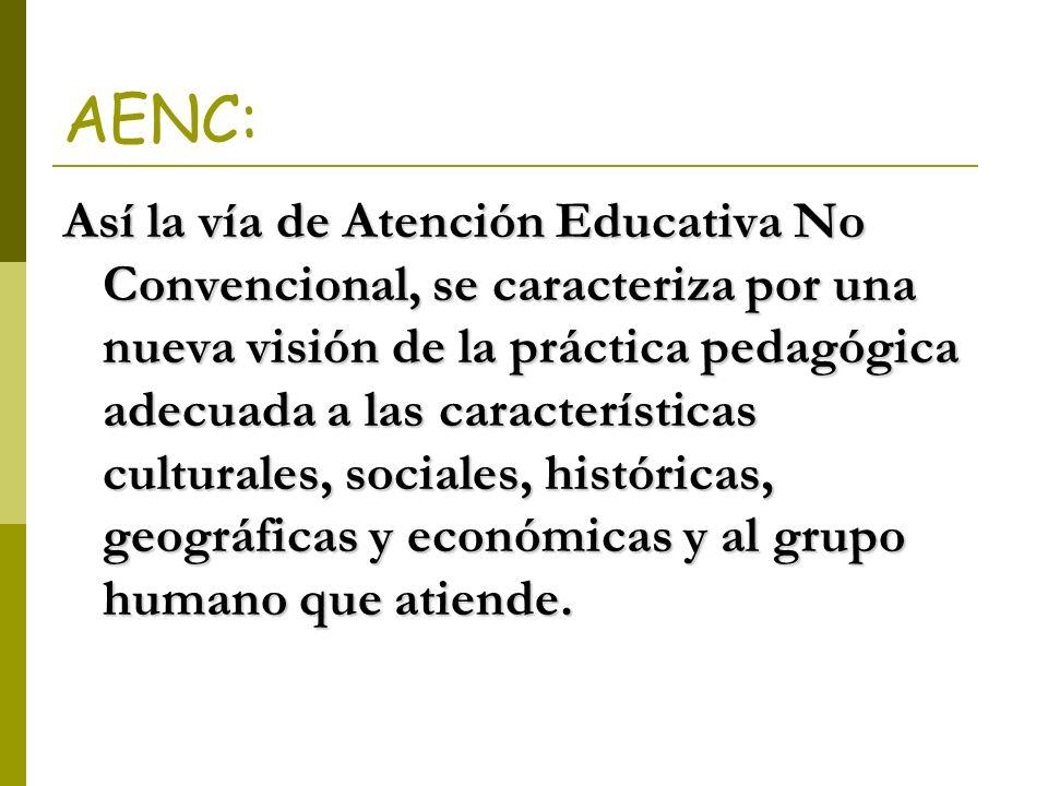 AENC: Así la vía de Atención Educativa No Convencional, se caracteriza por una nueva visión de la práctica pedagógica adecuada a las características c
