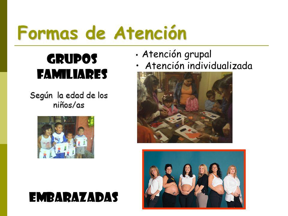 Formas de Atención Grupos Familiares Según la edad de los niños/as Embarazadas Atención grupal Atención individualizada