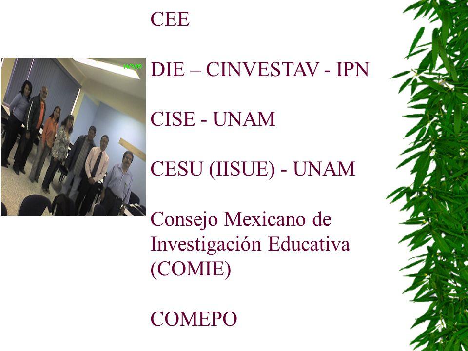 CEE DIE – CINVESTAV - IPN CISE - UNAM CESU (IISUE) - UNAM Consejo Mexicano de Investigación Educativa (COMIE) COMEPO