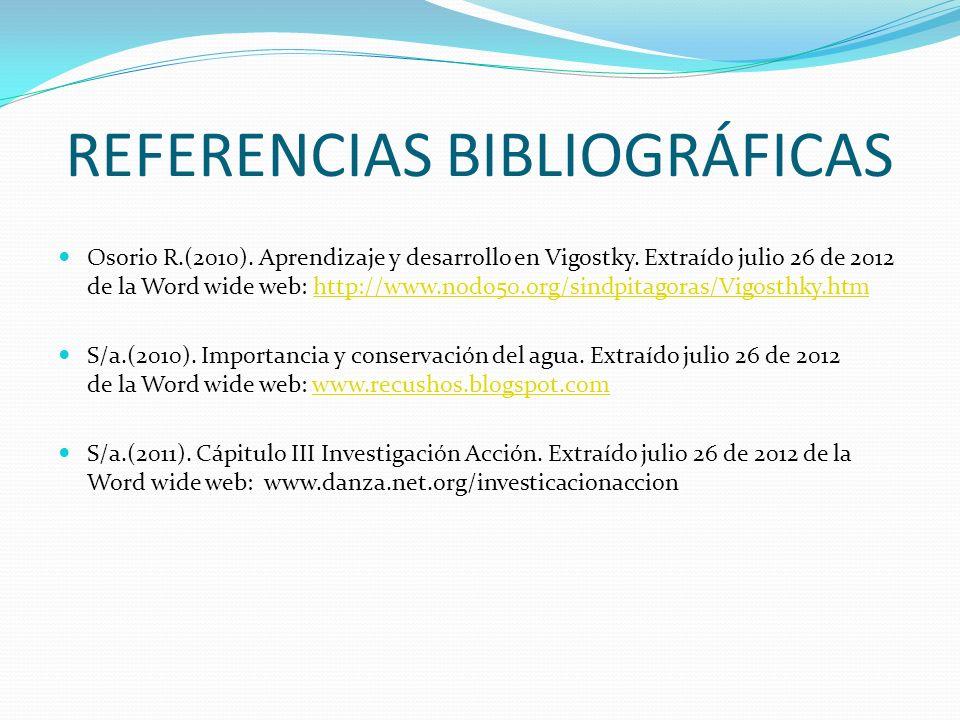 REFERENCIAS BIBLIOGRÁFICAS Osorio R.(2010). Aprendizaje y desarrollo en Vigostky. Extraído julio 26 de 2012 de la Word wide web: http://www.nodo50.org