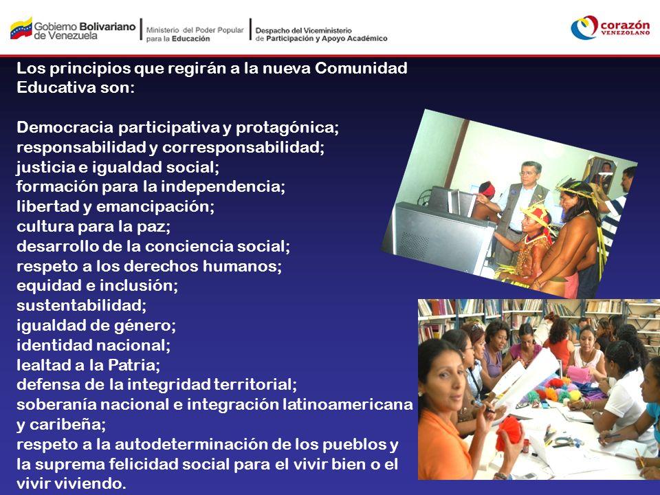 Los principios que regirán a la nueva Comunidad Educativa son: Democracia participativa y protagónica; responsabilidad y corresponsabilidad; justicia