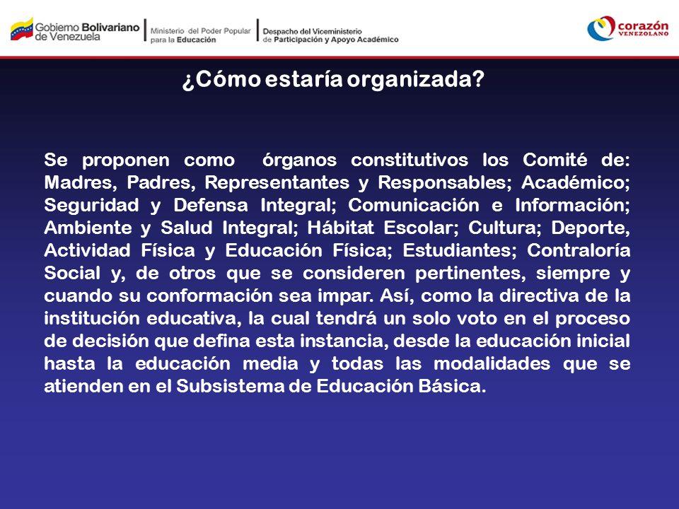 ¿Cómo estaría organizada? Se proponen como órganos constitutivos los Comité de: Madres, Padres, Representantes y Responsables; Académico; Seguridad y