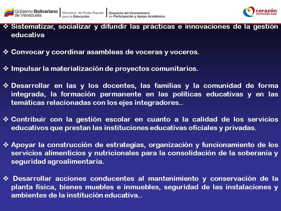 Sistematizar, socializar y difundir las prácticas e innovaciones de la gestión educativa Convocar y coordinar asambleas de voceras y voceros. Impulsar