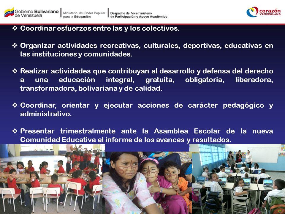 Coordinar esfuerzos entre las y los colectivos. Organizar actividades recreativas, culturales, deportivas, educativas en las instituciones y comunidad