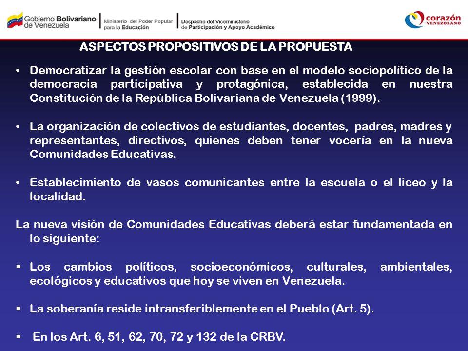 ASPECTOS PROPOSITIVOS DE LA PROPUESTA Democratizar la gestión escolar con base en el modelo sociopolítico de la democracia participativa y protagónica