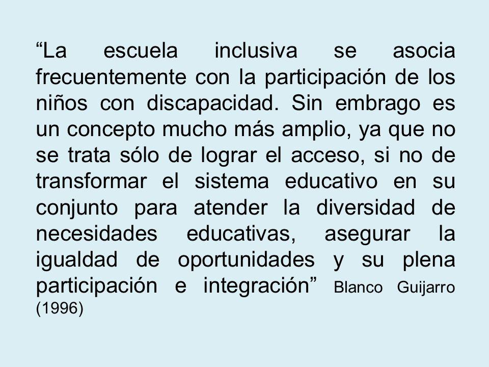 La escuela inclusiva se asocia frecuentemente con la participación de los niños con discapacidad. Sin embrago es un concepto mucho más amplio, ya que