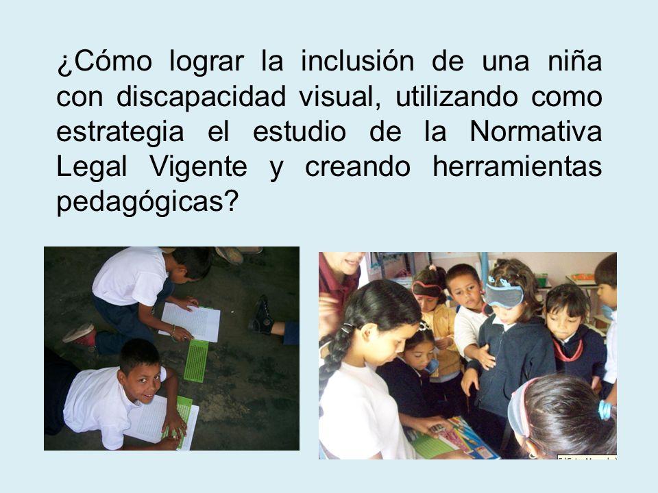 ¿Cómo lograr la inclusión de una niña con discapacidad visual, utilizando como estrategia el estudio de la Normativa Legal Vigente y creando herramien