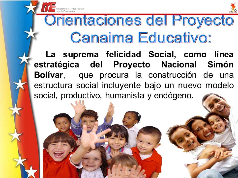 La suprema felicidad Social, como línea estratégica del Proyecto Nacional Simón Bolívar, que procura la construcción de una estructura social incluyen