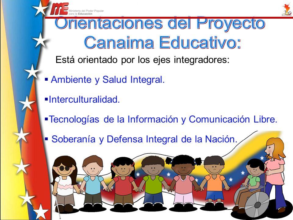Está orientado por los ejes integradores: Ambiente y Salud Integral. Interculturalidad. Tecnologías de la Información y Comunicación Libre. Soberanía