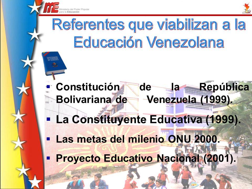 Constitución de la República Bolivariana de Venezuela (1999). La Constituyente Educativa (1999). Las metas del milenio ONU 2000. Proyecto Educativo Na
