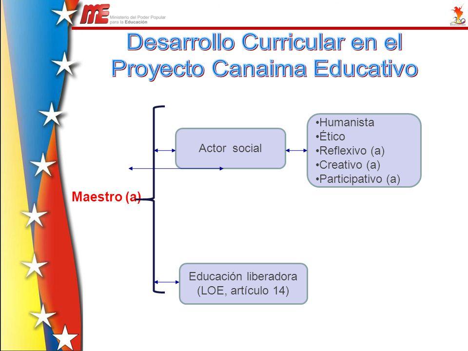 Maestro (a) Actor social Educación liberadora (LOE, artículo 14) Humanista Ético Reflexivo (a) Creativo (a) Participativo (a)