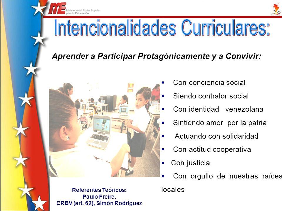 Aprender a Participar Protagónicamente y a Convivir: Con conciencia social Siendo contralor social Con identidad venezolana Sintiendo amor por la patr