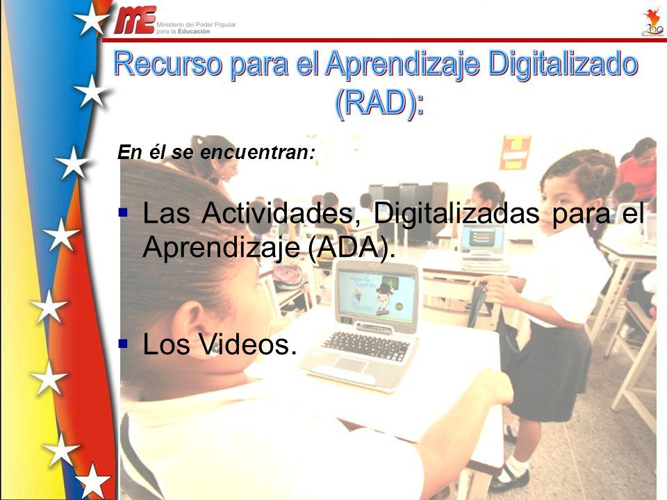 Las Actividades, Digitalizadas para el Aprendizaje (ADA). Los Videos. En él se encuentran:
