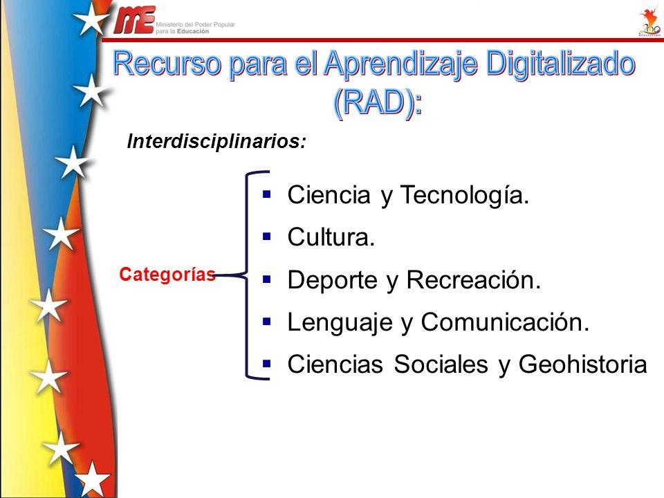 Ciencia y Tecnología. Cultura. Deporte y Recreación. Lenguaje y Comunicación. Ciencias Sociales y Geohistoria Interdisciplinarios: Categorías