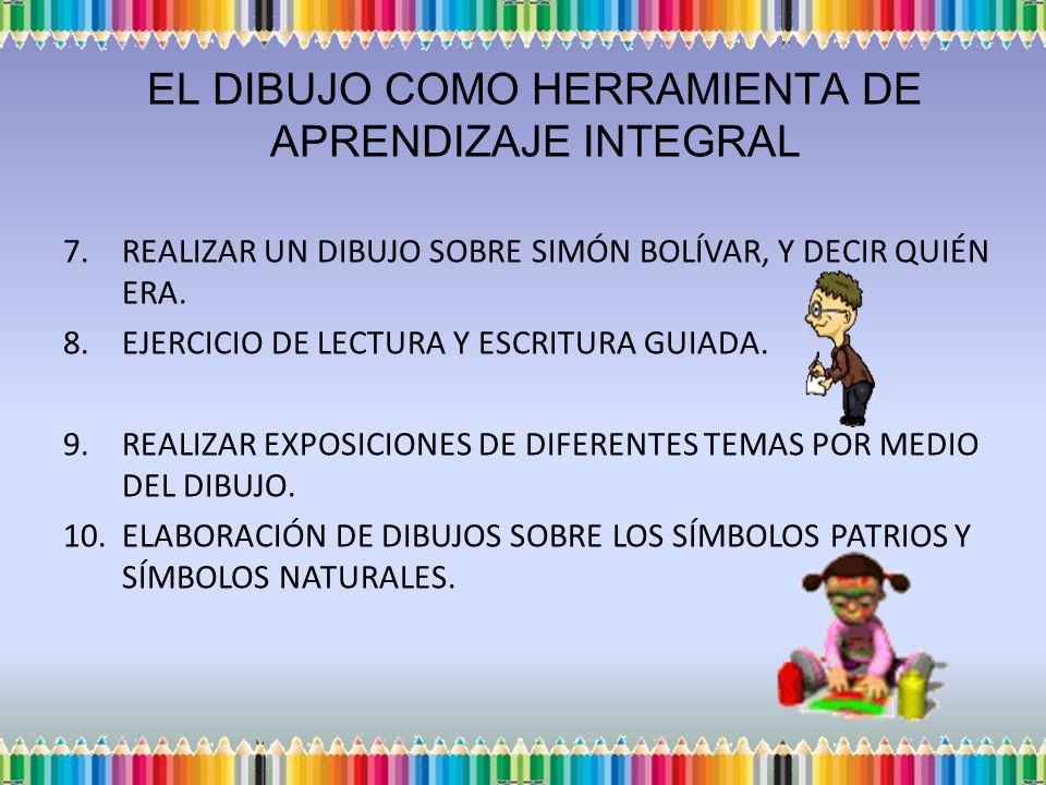 EL DIBUJO COMO HERRAMIENTA DE APRENDIZAJE INTEGRAL 7.REALIZAR UN DIBUJO SOBRE SIMÓN BOLÍVAR, Y DECIR QUIÉN ERA. 8.EJERCICIO DE LECTURA Y ESCRITURA GUI