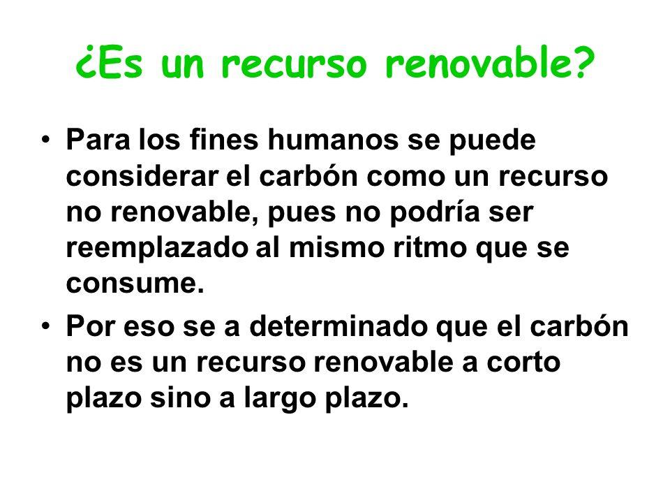 ¿Es un recurso renovable? Para los fines humanos se puede considerar el carbón como un recurso no renovable, pues no podría ser reemplazado al mismo r